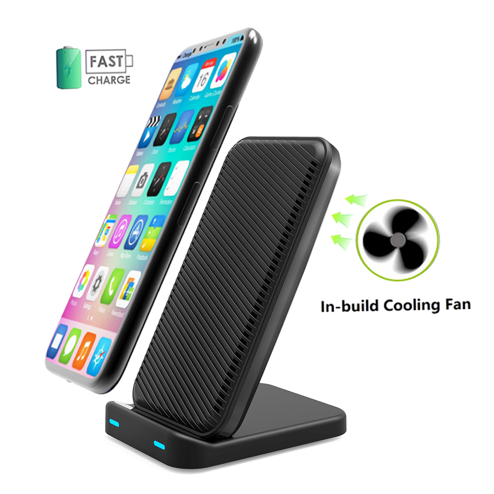 2 Coils Fast Wireless Chargers Stand with Cooling Fan